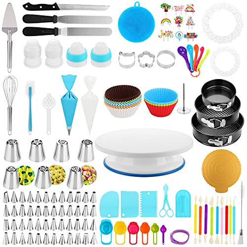 Cake Decorating Supplies Kit, Duerer 420 PCS Baking Tools with Cake Rotating Turntable, 3 Set Springform Pans, 48 Icing Tips, 7 Russian Nozzles, Cake Decorating Tools Set for Beginners