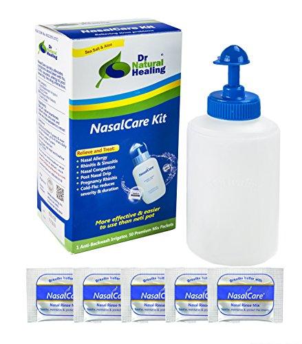 Dr Natural Healing Award Winning Nasal Irrigator & Sinus Rinse Kit with Premium Mixed Saline Rinse Packs (30-Pack Starter Kit - Adults Only)