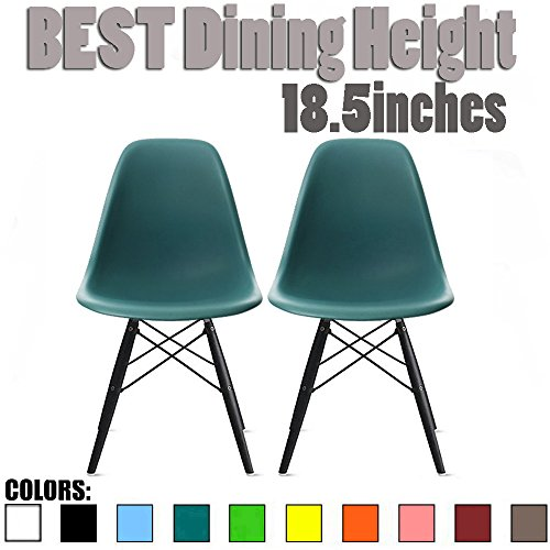 2xhome Set of Two (2) - Plastic Molded Side Chair Black Wooden Legs Eiffel Dining Room Chairs No Arm Arms Armless Molded Plastic Seat Dowel Legs (Teal)