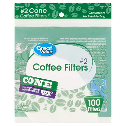 Great Value #2 Cone Coffee Filters, 100 count