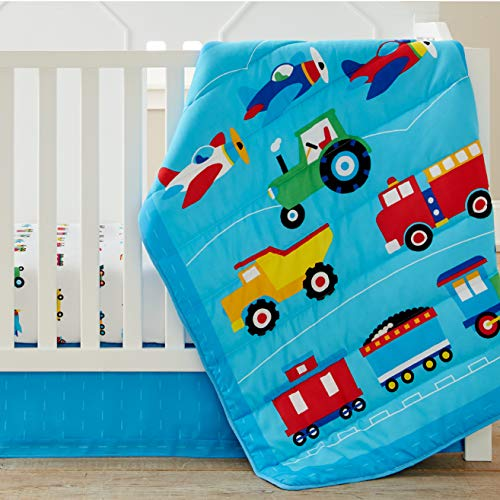 Wildkin 100% Microfiber 3 Pc Crib Bed In A Bag for Toddler Boys & Girls, Bedding Set Includes Printed Comforter, Fitted Bottom Sheet & Coordinating Crib Skirt, Olive Kids (Trains, Planes & Trucks)
