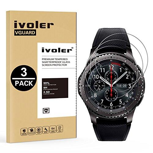iVoler [3 Unidades] Protector de Pantalla Compatible con Samsung Gear S3 Frontier/Classic, Cristal Vidrio Templado Premium [Dureza 9H] [Anti-Arañazos] [Sin Burbujas]