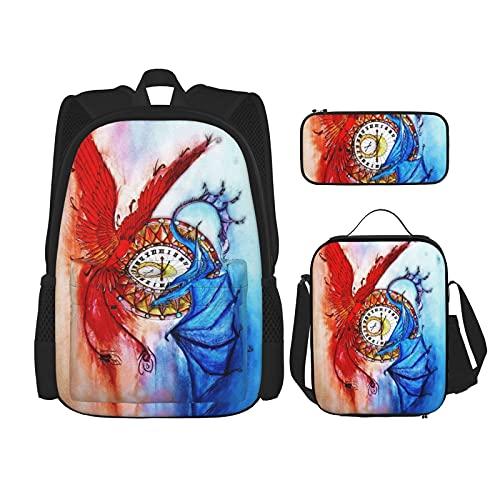 Mochila escolar Set Durable aislado bolsa de almuerzo estuche para niños niños bolsa de escuela, Phoenix And Ice Dragon - Reloj de pulsera, diseño de dragón, Talla única
