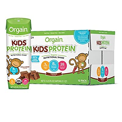 Orgain Organic Kids Protein Nutritional Shake, Chocolate - Great for Breakfast & Snacks, 8.25 Ounce, 12 Count (Packaging May Vary) & Organic Kids Energy Bar, Chocolate Chip - 1.27 Ounce, 10 Count