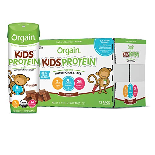Orgain Organic Kids Protein Nutritional Shake, Chocolate - Great for Breakfast & Snacks, 26 Vitamins & Minerals, 10 Fruits & Vegetables, Gluten Free, 8.25 Ounce, 12 Count (Packaging May Vary)