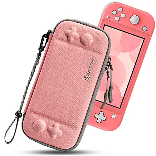 tomtoc Slim Carry Case for Nintendo Switch Lite, Protective Portable Carrying Cases with [Original Patent], Travel Storage Hard Shell with 8 Game Cartridges and Military Level Protection, Coral
