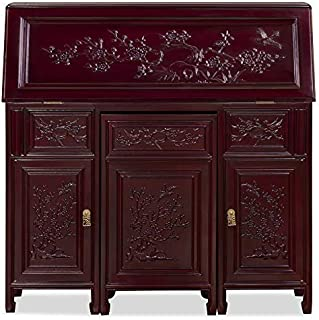 China Furniture Online Rosewood Flower and Birds Secretaire, Dark Cherry