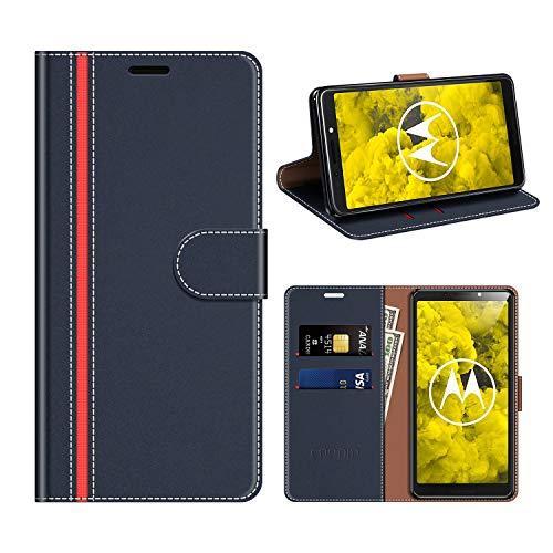 COODIO Motorola Moto G6 Play Hülle Leder, Moto G6 Play Kapphülle Tasche Leder Flip Cover Schutzhülle Rugged für Motorola Moto G6 Play Handyhülle, Dunkel Blau/Rot
