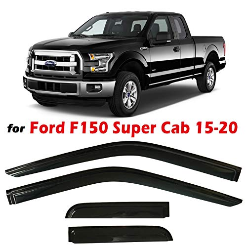 Optimal Co Dark Tinted Tape-On Side Window Vent Visor Deflectors Rain Guards Compatible with Ford F150 SuperCab 2015-2020 XL XLT Lariat King Ranch Platinum Limited Raptor 2016 2017 2018 2019