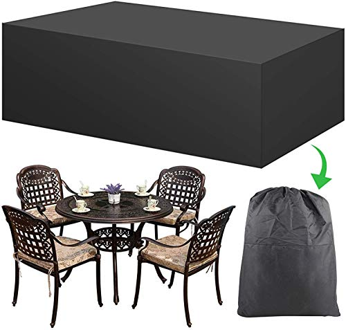 AGAKY Garden Furniture Covers,Outdoor Waterproof Furniture Cover Waterproof Snow Dust Windproof Anti-UV,Heavy Duty Oxford Rectangular Rattan Patio Table Covers (123x123x74cm) Black