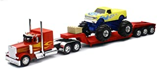 New-Ray New 1:32 NEWRAY Truck & Trailer Collection - RED Peterbilt Model 379 LOWBOY with Monster Truck Diecast Model Toys