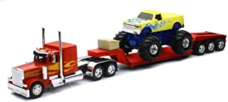 New Ray New 1:32 NEWRAY Truck & Trailer Collection - RED Peterbilt Model 379 LOWBOY with Monster Truck Diecast Model Toys