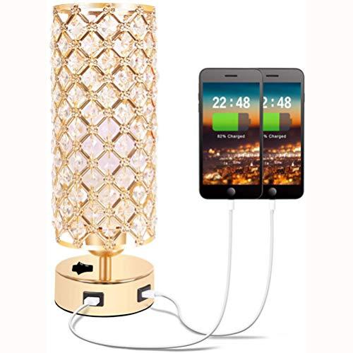 OSALADI - Lámpara de mesa de cristal USB con dos puertos de carga USB, cristal dorado, lámpara de mesita de noche, lámpara de escritorio para dormitorio, salón, entrada, oficina, sin bombilla
