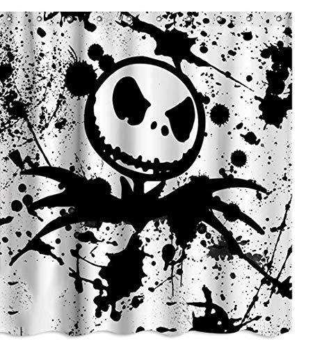 Duschvorhang mit Totenkopf, Halloween-Motiv, Nightmare Before Christmas, Stoff, Duschvorhang-Set, Badezimmer-Dekor mit Haken, wasserdicht, waschbar, 180,3 x 180,3 cm, Schwarz / Weiß