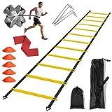 DTNO.I Kit de Entrenamiento de Velocidad - Con 1 Escalera de Agilidad 1 Paracaídas de Resistencia 5 Conos de Fútbol y 1 Yoga Banda Usado Para Fútbol Baloncesto Rugby Boxeo Una Serie