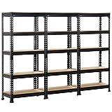 Yaheetech 3 Packs Shelving Units and Storage Shelves Heavy Duty Garage Shelving Shelves Utility Shelves Adjustable Height, 59 inch