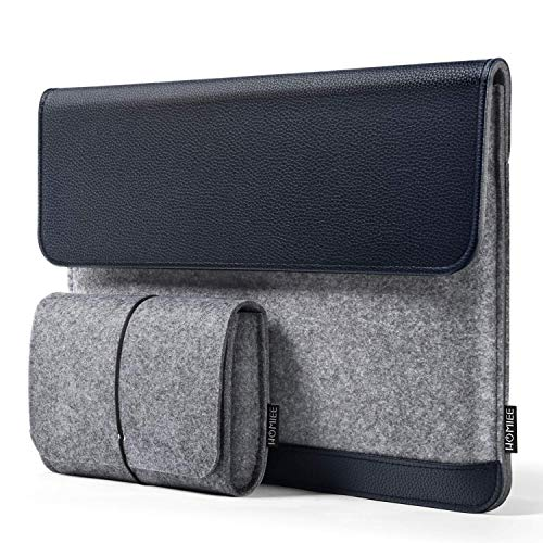 HOMIEE 13,3 Zoll Laptoptasche, Filz & PU Leder Laptop Hülle Tasche mit extra kleine Filztasche, Kompatibel mit 13 Zoll - 13.3 Zoll MacBook Pro/Retina/MacBook Air, iPad Pro 12.9 (Dunkelblau)