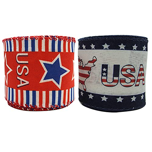 2 Rolls Independence Day Ribbons Patriotic Buffalo Wired Edge Ribbons 4th of July Themed Ribbons for DIY Crafts Wreaths Decorations Gift Wrapping 2.5 Inch x 6.5 Yards for Each (13 Yards)