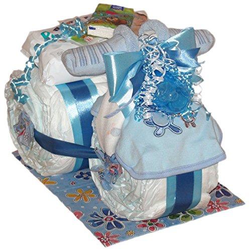 Großes Windeldreirad Boy 41tlg. in blau für Jungen. Tolles Geschenk zur Taufe oder Geburt Windeltorte