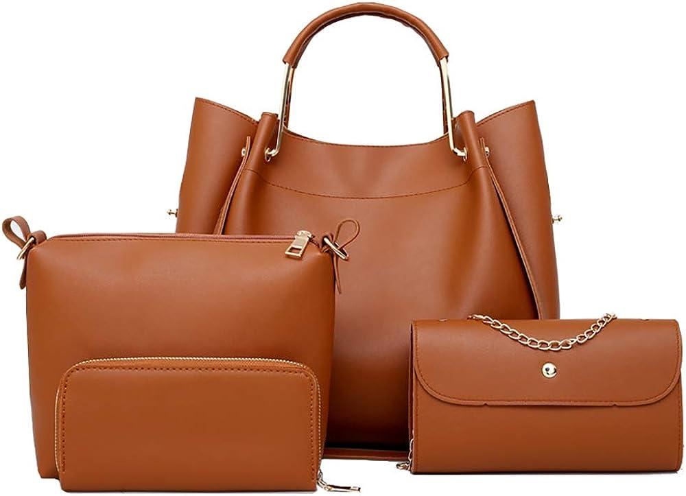 4 Pack Handbags Set for Women PU Leather Hobo Bag Shoulder Bag Wallet Purse Set