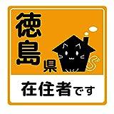 mitas 徳島 在住ステッカー 反射 イタズラ防止 マグネット ねこ オレンジ (888) STKM3629-OR