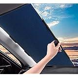 MefeCoorel サンシェード 車 遮光 遮熱 自動伸縮 自動折畳 プライバシーを保護する 車 サンシェード (青い, 二層構造)
