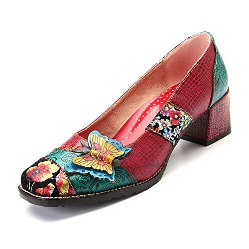 CrazycatZ Damen Halbschuhe Party Schuhe Leder Klassische Pumps Vintage Flats Blockabsatz (37 EU, RED)