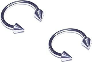 2x Pieces 14 16 Gauge 14g 16g 316L Stainless Steel Spiked Circular Barbell Horseshoe Septum Nipple Tragus Ring Earring Piercing Body Jewelry with Spikes 1/4 5/16 3/8 7/16 1/2 Inch Set of 2