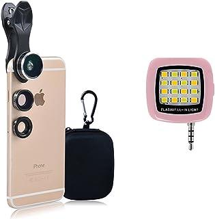 Apexel 高級 3 合 1 相機鏡頭套件 帶便攜式銀色 LED 自拍填充燈 適用于 iPhone 7 6/6s Plus 和三星 Galaxy S7/S7 Edge AndroidAPL-5DG3H-PNK 粉紅色