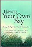 Having Your Own Say  Book cover
