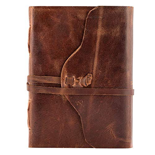 Urban Leather Book – Curve Cut Journal for Drawing Sketchbook Scrapbook Writing Notebook Daily Diary, 5x7 inches Unlined