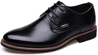 PengCheng Pang Business Oxford for Men Formal Dress Shoes Lace Up Genuine Leather Super Soft Pointed Toe Hand Sewing Elegant Solid Color (Color : Black, Size : 8 UK)