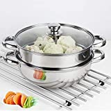Steamer Pot Stainless Steel 2 Tier - 28cm Steamer Pot w/Glass Lid Food Veg Cooker Pot Cooking Pan Steaming Pot Dim Sum Cookware Steamer For Kitcken Cooking Tool