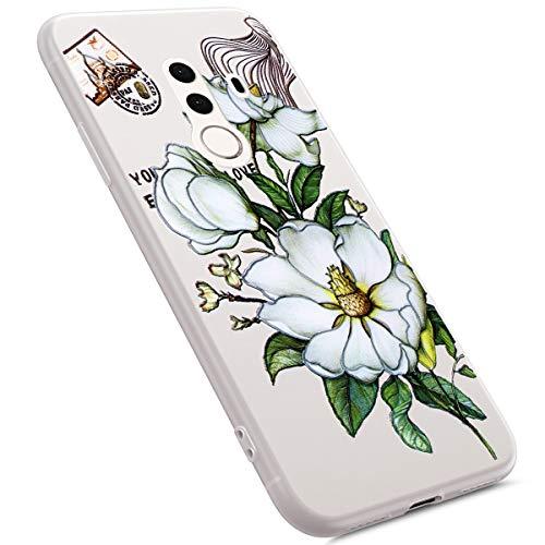Uposao Coque Compatible avec Huawei Mate 10 Pro Coque Matte Etui Premium Semi Transparent Coque Soft TPU Silicone Anti-Choc Bumper Ultra Mince Hybrid Slim Case Coque Huawei Mate 10 Pro,Fleur Blanc
