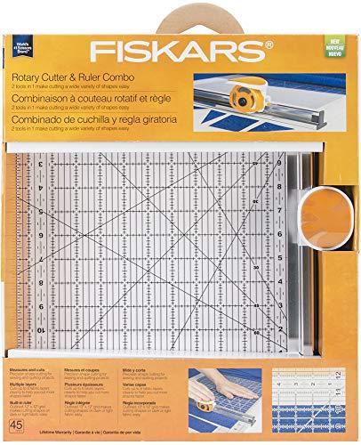 Fiskars Rotary Ruler Combo for Fabric Cutting, 12-Inch x 12-Inch