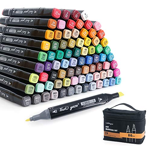 rabbitgoo 80 Farbige Marker Stift Graffiti Stifte Set Fettige Marker Set Twin Tip Textmarker für Kunstler DIY Studenten Manga doppelseitige Sketch Marker Stifte Set Graffiti Pens
