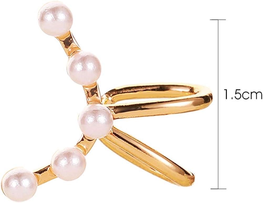 Fashion Ear Jewelry For Girls Women,1Pc Arc Shaped Faux Pearl Ear Cuff Clip On Earring Women Non Piercing Jewelry - Golden