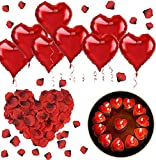 Romántico Kit, Set de Velas y Rosa Pétalos 1000 Piezas Pétalos de Rosa+50 Rojo Velas en Forma de Corazón+10 Rojo Foil Globos Corazón para San Valentín, Bodas, Aniversarios Pareja,Compromiso Decoración