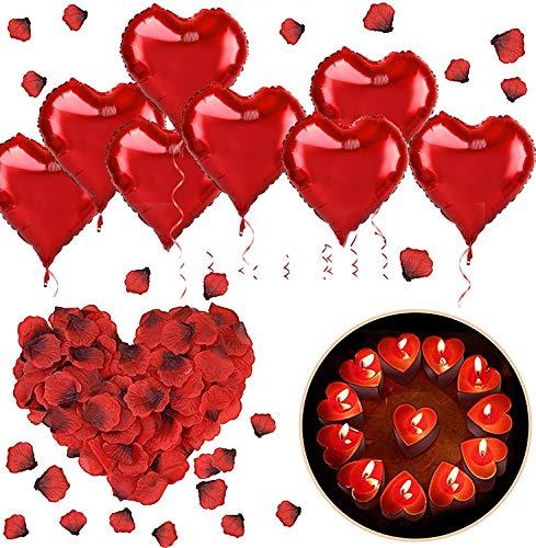 SANBLOGAN Romantische Deko, 1000 Rosenblätter+50 Rot Teelichter+10 Rot Folienballon, Romantisch Herz Kerzen Deko für Valentinstag Vorschlag Hochzeit Party Tischdeko Dekoration Romantik Geschenke