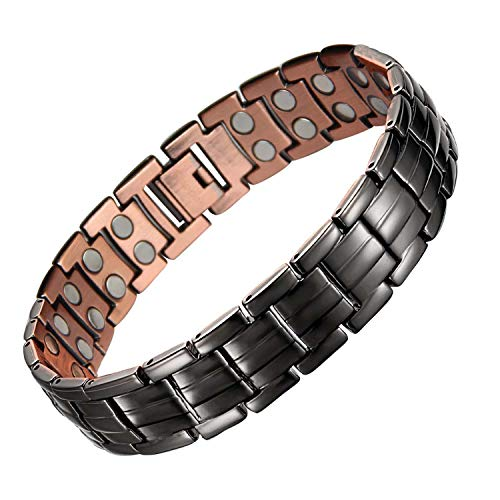 Mens Copper Bracelets 8.5' Link Adjustable Black Pure Copper with...
