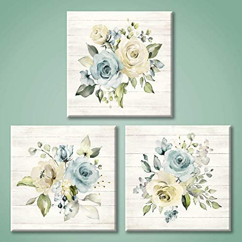 Floral Canvas Painting Wall Art Yellow Blue Roses Pictures Flower Artwork for Bedroom 12 x 12 product image