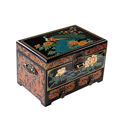 Jewelry Box XIAOXIAO - Mueble de madera para mujeres y niñas, estilo chino, pintado a mano, con espejo de regalo para matrimonio, variedad de estilos (color: D)