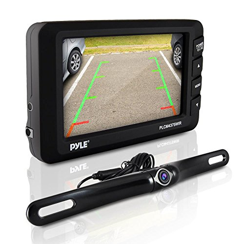 "Wireless Rear View Backup Camera - 4.3"" LCD Monitor Built-in Distance Scale Lines Parking/Reverse Assist w/Adjustable Slim Bar Cam Marine Grade Waterproof Night Vision LEDs - Pyle PLCM4375WIR_0"