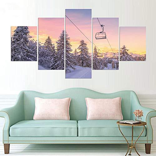 Wslin Wohnkultur druk schilderij modulaire kunst 5 beeld sneeuw bergen en kabelbaan snowboarden Hd Canvas muurschildering poster afdrukken op canvas 150X80cm