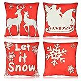 FAVENGO 4 Pcs Funda Cojin Navidad 45cm x 45cm Fundas de Almohadas Navideñas Funda para Cojines de Sofa Fundas Cojines Exterior Decoracion de Navidad para Cojín Sofa Sala de Esta