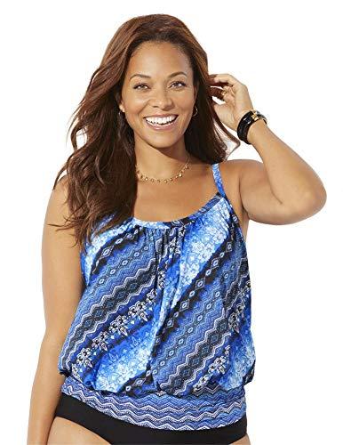 Swimsuits For All Women's Plus Size Lightweight Blouson Tankini Top 16 Blue Diagonal