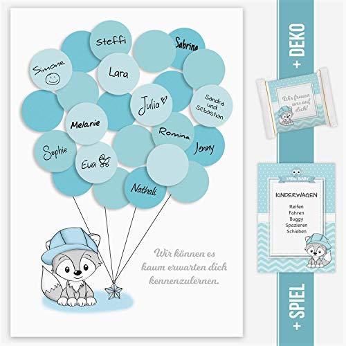 Babyparty Gästebild mit Papierluftballons zum beschreiben Fuchs junge blau