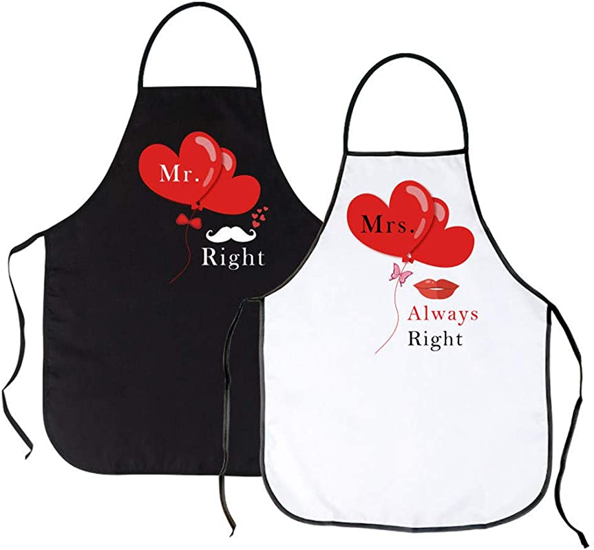 ICYANG Mr And Mrs Aprons His And Hers Couple Matching Wedding Gifts Cute Funny Kitchen Cooking Bibs For Bridal Shower Engagement Anniversary Newlyweds Set Of 2