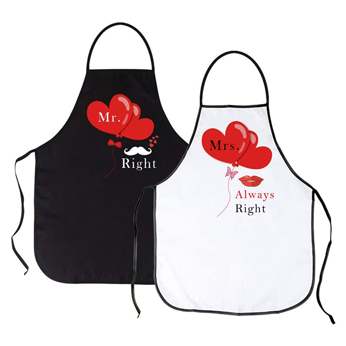 RAYNAG Set of 2 Mr. Right & Mrs. Always Right Kitchen Aprons for Wedding Engagement Gift, Couples Aprons for Cooking