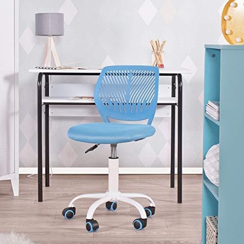 Geniqua Office Chair Swivel Computer Task Work Adjustable Kids Room Mid Back Seat Blue